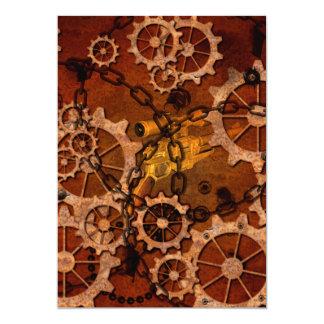 Steampunk, gears in rusty metal 13 cm x 18 cm invitation card