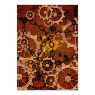 Steampunk, gears in rusty metal 5x7 paper invitation card