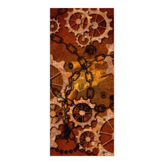 Steampunk, gears in rusty metal 4x9.25 paper invitation card