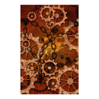 Steampunk, gears in rusty metal stationery