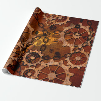 Steampunk, gears in rusty metal wrapping paper