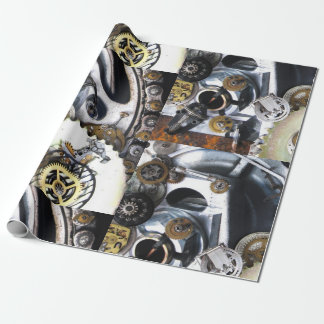 steampunk Gears metal vintage watch fantasy SciFi Wrapping Paper