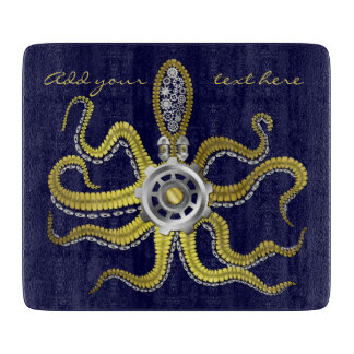 Steampunk Gears Octopus Kraken Cutting Board