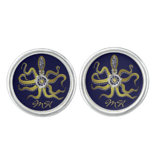 Steampunk Gears Octopus Kraken Monogram Cuff Links