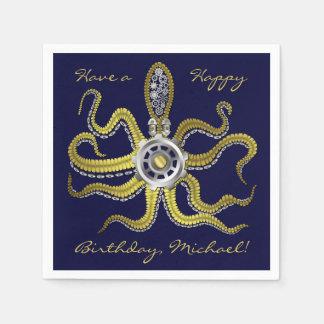 Steampunk Gears Octopus Kraken Paper Serviettes