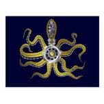 Steampunk Gears Octopus Kraken Post Cards
