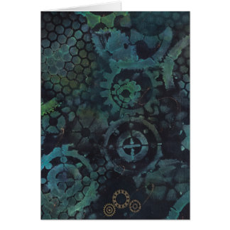 Steampunk Gears Painting Blank Card