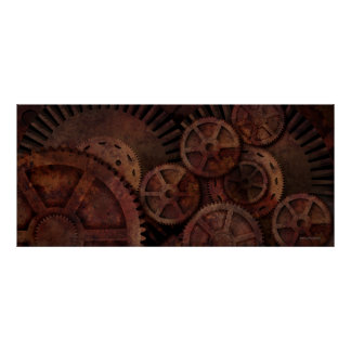 Steampunk gears poster