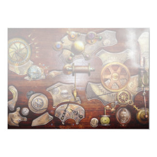 Steampunk - Gears - Reverse engineering 5x7 Paper Invitation Card