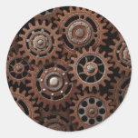 Steampunk Gears Round Stickers