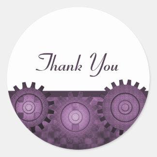 Steampunk Gears Thank You Stickers, Purple
