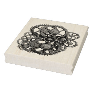Steampunk Gears Vintage Collage Rubber Art Stamp