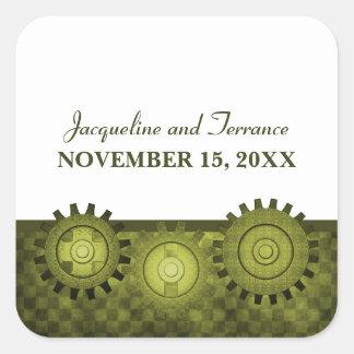 Steampunk Gears Wedding Stickers, Green
