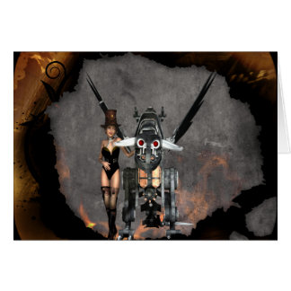 STEAMPUNK GIRL AND STEAM DRAGON BURN IT UP GREETING CARD