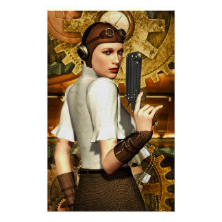 Steampunk girl poster