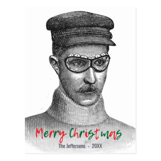 Steampunk Goggles Man Merry Christmas Red Green Postcard