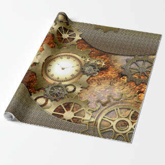 Steampunk, golden design wrapping paper