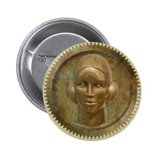 Steampunk Golden Metal Gear Goddess 6 Cm Round Badge