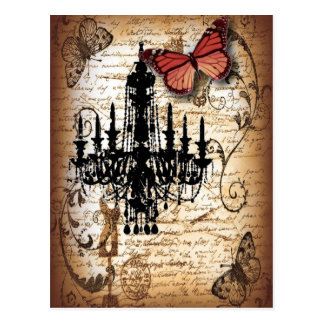 steampunk goth butterfly paris vintage chandelier postcard