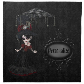 Steampunk Goth Girl Personalized Damask Napkins