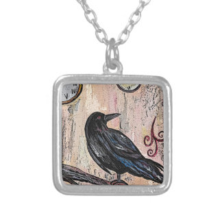 Steampunk Goth Raven with Clocks Silver Plated Necklace
