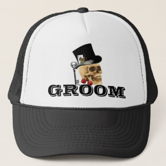 Steampunk gothic gambling skull groom trucker hat