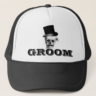 Steampunk gothic groom trucker hat