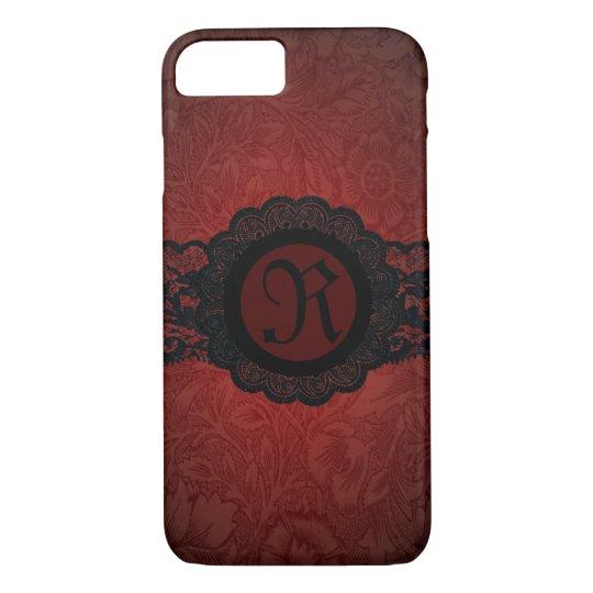 steampunk gothic victorian red black lace monogram iPhone 8/7 case