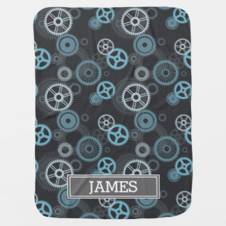 Steampunk Gray and Blue Gears Monogrammed Buggy Blanket