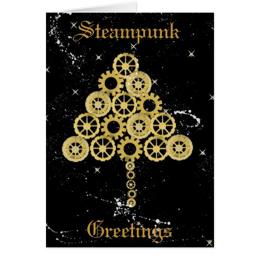 Steampunk Greetings Christmas Card
