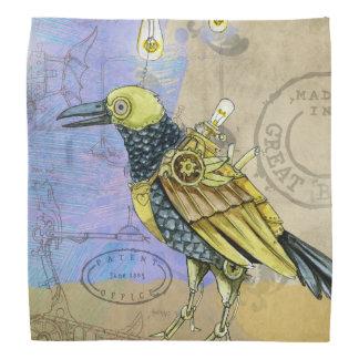 Steampunk Grunge Drawing of Mechanical Bird Head Kerchiefs