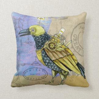 Steampunk Grunge Drawing of Mechanical Bird Throw Pillow
