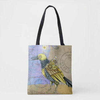 Steampunk Grunge Drawing of Mechanical Bird Tote Bag