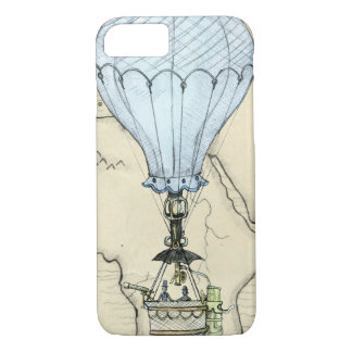 Steampunk Grunge Hot Air Balloon with Map iPhone 8/7 Case