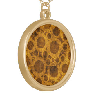 Steampunk Grunge Pattern Brown and Gold Necklace