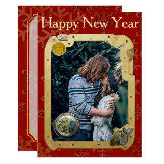 Steampunk Happy New Year Template Invitation