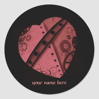 Steampunk heart in red, add your name classic round sticker