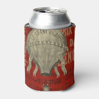 Steampunk Hot Air Ballon Ride Graphic Fonts in Red Can Cooler