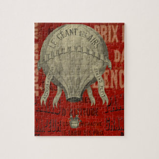 Steampunk Hot Air Ballon Ride Graphic Fonts in Red Jigsaw Puzzle