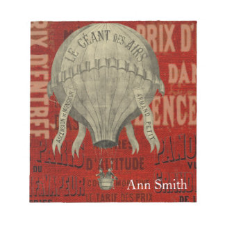 Steampunk Hot Air Ballon Ride Graphic Fonts in Red Notepad