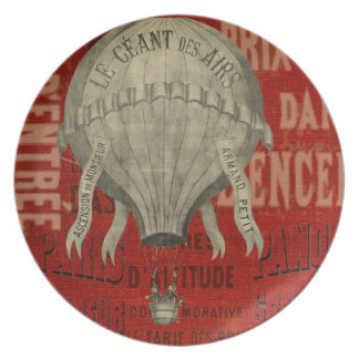 Steampunk Hot Air Ballon Ride Graphic Fonts in Red Plate