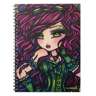 Steampunk Hot Air Balloon Girl Fantasy Art Spiral Notebook