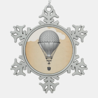 Steampunk Hot Air Balloon Snowflake Pewter Christmas Ornament