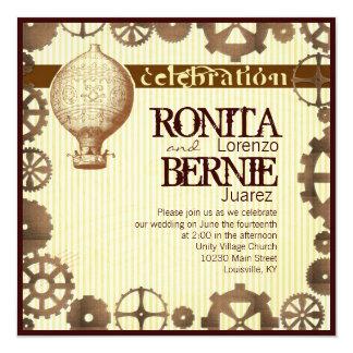 Steampunk hot air balloon wedding template 13 cm x 13 cm square invitation card