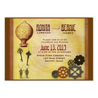 Steampunk hot air balloon wedding template 13 cm x 18 cm invitation card