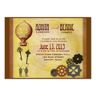 Steampunk hot air balloon wedding template card