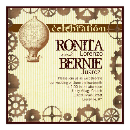 Steampunk hot air balloon wedding template personalized announcement