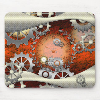 Steampunk in edelegant design with clocks and gear mouse pad