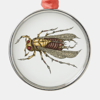 Steampunk Insect Silver-Colored Round Decoration