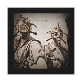 Steampunk Inspired Gas Masks Stretched Canvas Prints